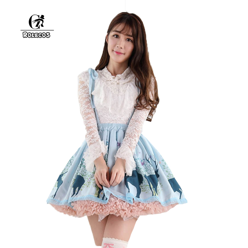ROLECOS New Arrival Summer Women High Waisted Japanese Lace Blue Lolita Skirt Suspender Detachable Strap