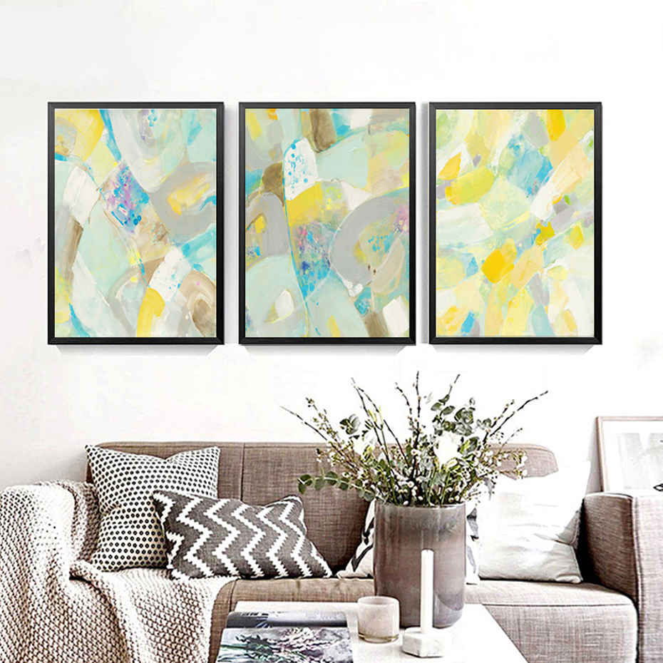 Modern Abstract Multi Colors Canvas Painting Poster Prints Wall Art Imágenes nórdicas para oficina Sala de estar Decoración del hogar Sin marco