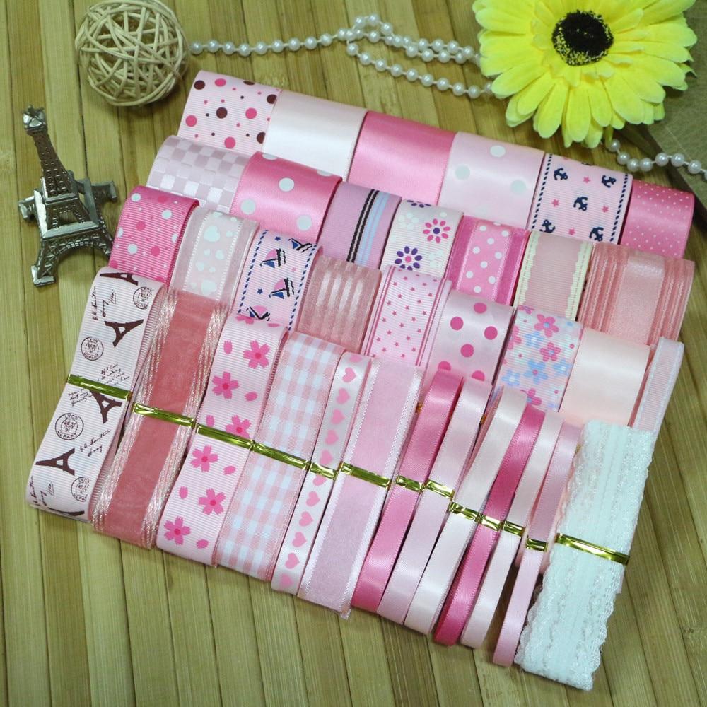 Kiváló minőségű DIY szalagkészlet --- rózsaszín hercegnő szalagkészlet (összesen 35 yard)