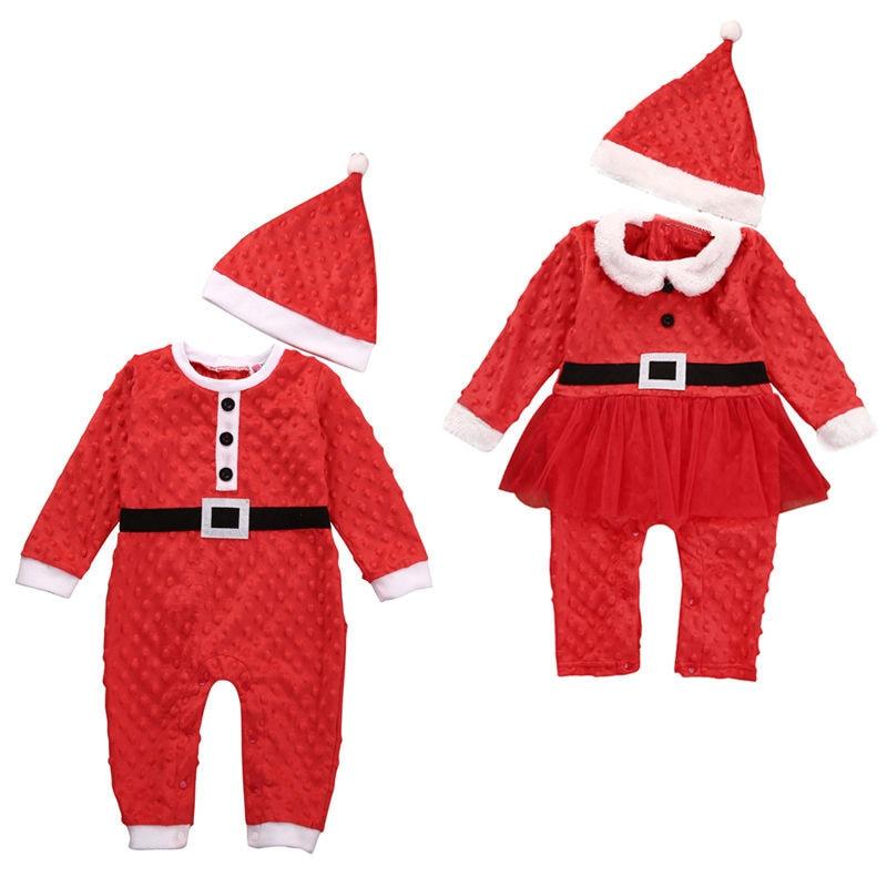 Christmas Baby Romper 0-24M Newborn Baby Boy Girl Santa Claus Rompers Hat 2Pcs 2017 New Warm Jumpsuit Infant Xmas Bebs Body suit