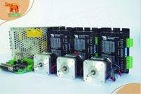 New Arrival! Wantai 3 Axis Nema 17 Stepper Motor 42BYGH801 54oz in+Driver DQ420MA 1.7A 36V 128Micro CNC RouterReprep DIY CNC