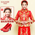 2017 Dragon gown China red bride wedding dress chinese style summer long-sleeve wedding cheongsam evening dress show clothing