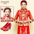 Vestido 2017 del dragón de china vestido de boda de la novia rojo cheongsam de la boda del estilo chino del verano de manga larga vestido de noche mostrar clothing
