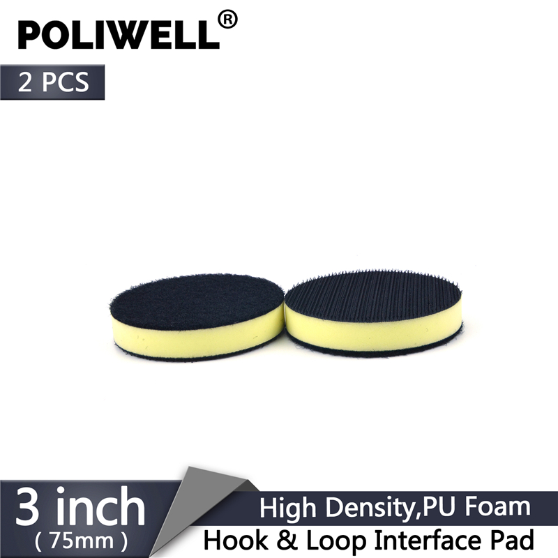 POLIWELL 2PCS 3 Inch PU Surface Protection Interface Pad Hook And Loop Sanding Disc Backing Buffer Pads For Power Rotary Tools
