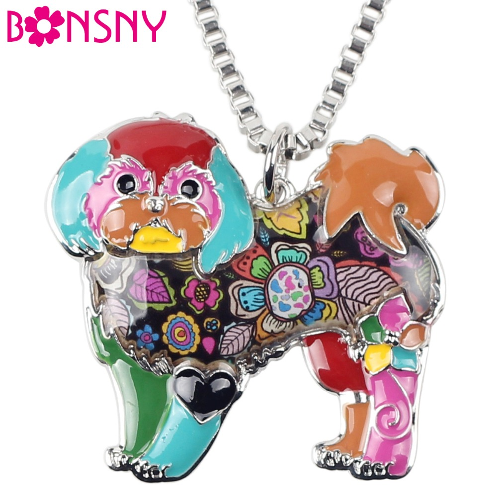 Bonsny Maxi Statement Alloy Yorkie Yorkshire Hund Shih Tzu Smykker Choker Emalje Halskæde Chain Collar Pendant Fashion For Women
