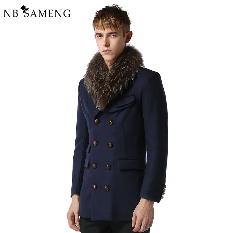 Free Shopping High Quality Men Solid Worsted Coat 2017 Winter Warm Mens Overcoat Slim Men Long Wool Worsted Trench Coat 13M0366
