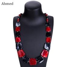 Ahmed, новинка, длинное колье с бусинами, модное весеннее акриловое геометрическое ожерелье с кулоном, ожерелье для женщин