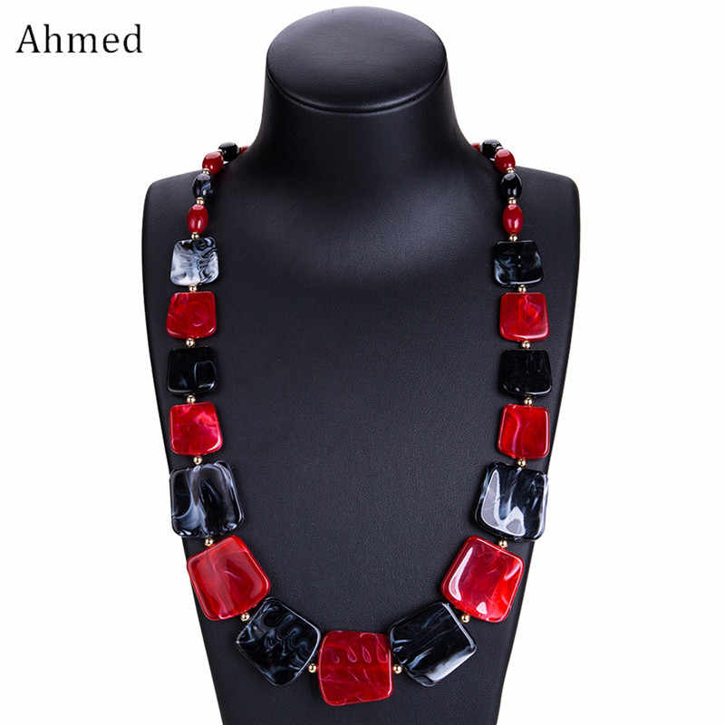 Ahmed New Maxi Statement Long Beads Necklaces Collier Fashion Spring Acrylic Geometric Pendant Collar Necklace for Women