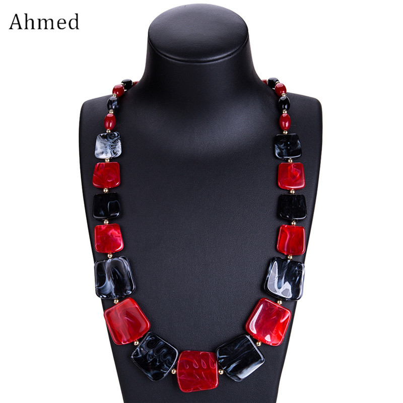 все цены на Ahmed New Maxi Statement Long Beads Necklaces Collier Fashion Spring Acrylic Geometric Pendant Collar Necklace for Women
