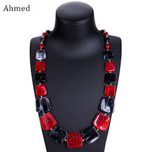 Ahmed New Maxi Statement Long Beads Necklaces Collier Fashion Spring Acrylic Geometric Pendant Collar Necklace for Women special new fashion opal maxi necklace romantic waterdrop necklaces