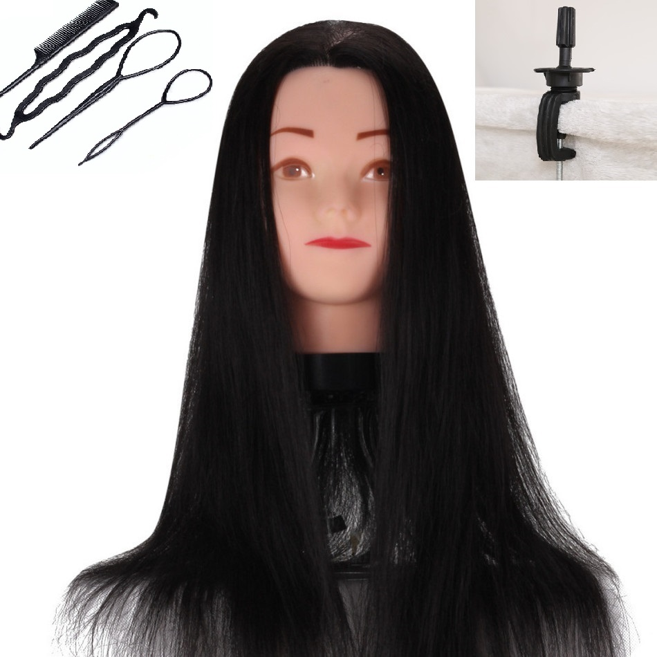 Black Hair Mannequin Wig Hairdressers Hair Styling Mannequins For Sale Training Black Wig Head Cosmetology
