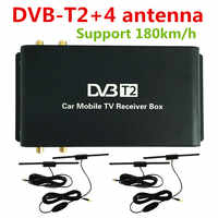 Car DVB-T2 Four Mobility Tuner Active Antenna Digital TV Receiver Box For Russia Thailand Singapore Kenya Support 180km/h