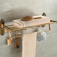 Aluminum Foldable Antique Brass Bath Towel Rack Active Bathroom Towel Holder Double Towel Shelf With Hooks Bathroom Accessories