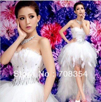 Hot~~Feather Hi-Lo Wedding Dress~~ Front Short And Back Trailing Style Bride Feather Wedding Gown 633