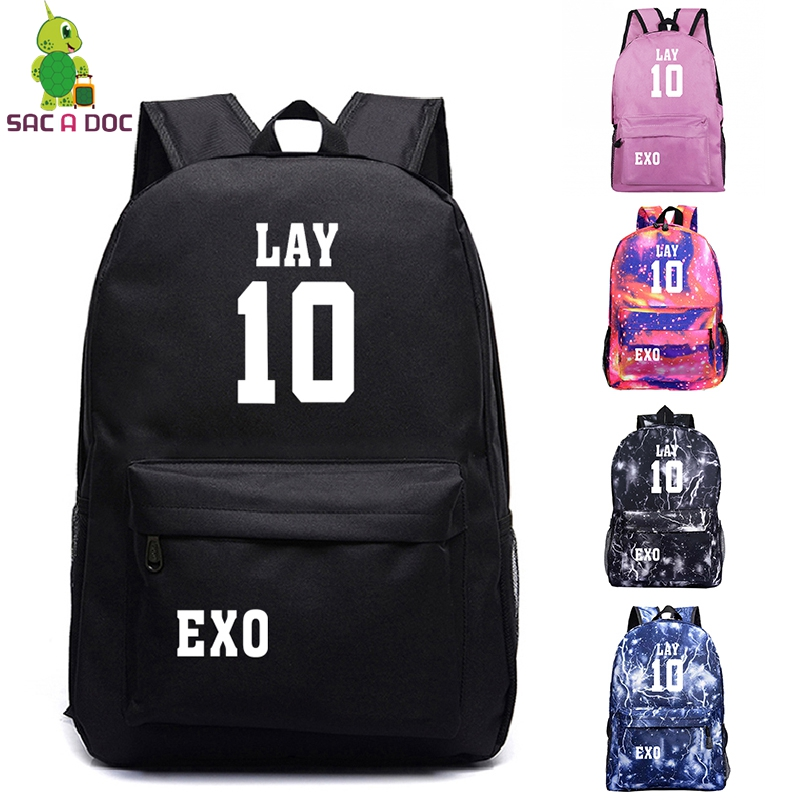 Sunny Exo Prints Backpack School Bags For Teenage Daily Backpack Cartoon Zaini Galaxy Backpacks Girls Boy Bookbag Travel Shoulder Bag Evident Effect Men's Bags Luggage & Bags