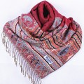 Fashion Burgundy Women's Silk Pashmina Shawl Scarf Wrap honeybee flower Free Shipping Wholesale Retail FF-XMF4
