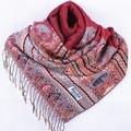 Fashion Burgundy Women's Silk Pashmina Shawl Scarf Wrap honeybee flower Free Shipping Wholesale Retail FF-XMF4