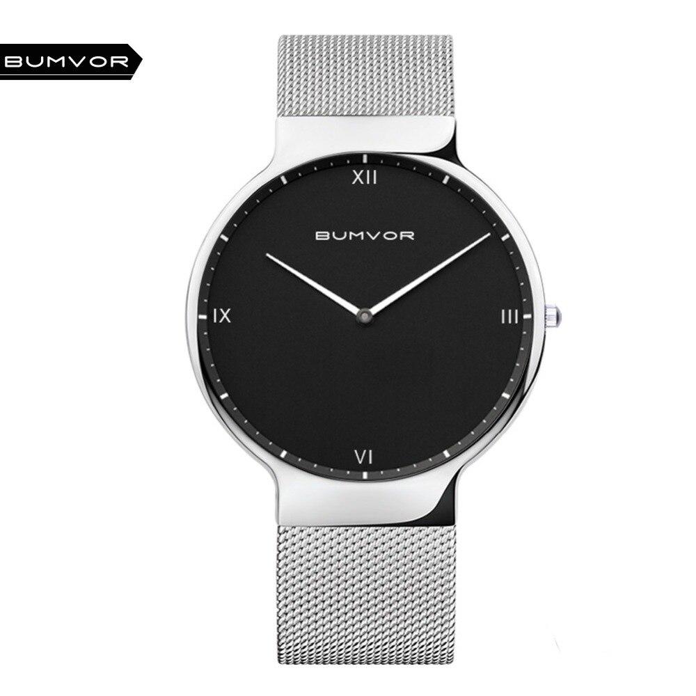 BUMVOR Top Watches Men Luxury Brand Mesh Steel Strap Slim Male Clock Men Watch Business Fashion Casual Watches relogio masculino