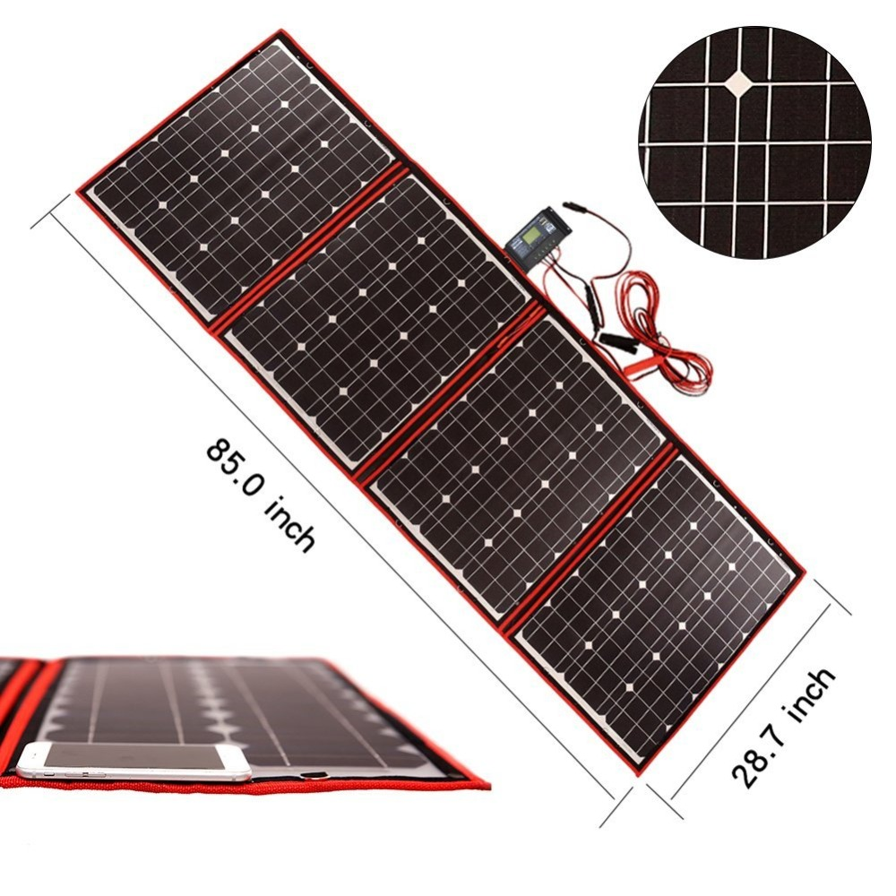 Image 2 - Dokio Black Solar Panels 200W (50Wx4pc) 18V China Foldable + 12V Controller Panels Solar Battery Charge Motorhome RV Car-in Solar Cells from Consumer Electronics