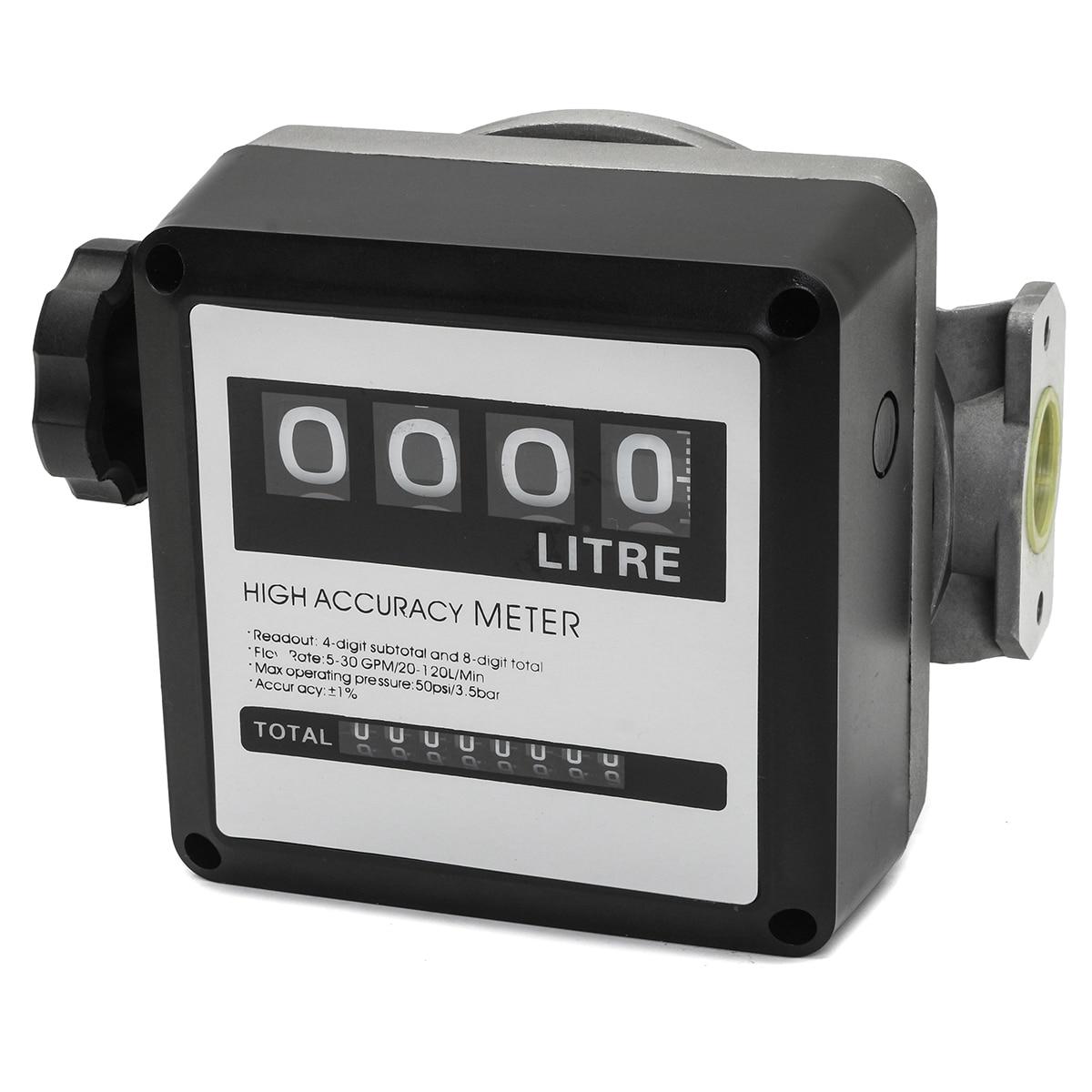 1Pcs FM 120 4 Digital for Diesel Gasoline Fuel Petrol Oil Flow Meter Counter Gauge 20 120L/Min for Refueling device