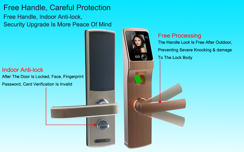 Electronic Lock Door Face Fingerprint Password Digital Door Lock Electronic Locks Smart Door Lock Touch Screen Keyless
