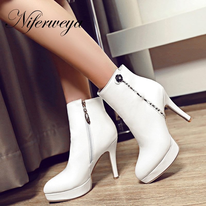 Sexy Platform high heels big size 32-46 winter women shoes fashion Pointed Toe Rhinestone decoration Ankle boots zapatos mujer fashion winter women short boots sexy pointed toe platform high heel shoes big size 32 46 solid pu ladies zipper ankle boots