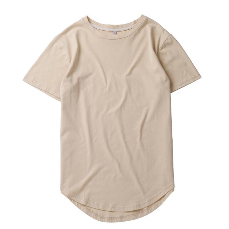 HZIJUE2017 Men's T-shirt summer Solid Color Curved Hem Long Line Camouflage Hip Hop Tshirt Elong Plain Kanye Tee Shirts Men Top 2