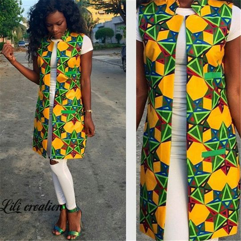 RICHE BAZIN 2018 African Fashion New European and American Printing Women's Sleeveless Long Suit Vest Coat Female