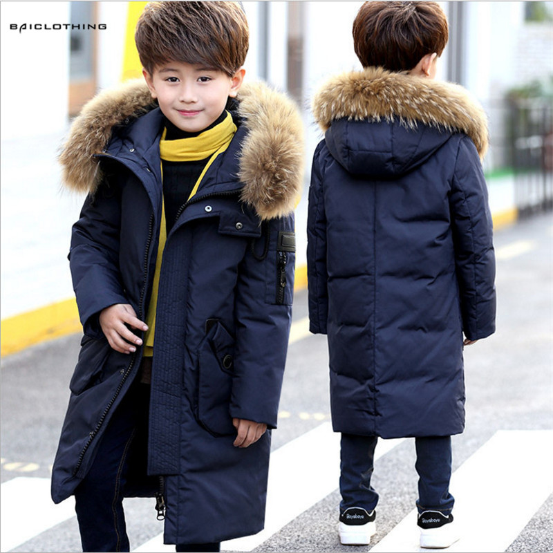 High Quality 2017 Boy's Long Down Jackets Children Thick Down Coats Boy Winter Fur Coat Boys Parka Kids Clothes -30 Degree boys fleece jackets solid coat kid clothes winter coats 2017 fashion children clothing
