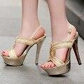 A Parte Inferior vermelha de salto alto bombas sandálias da Bracelete de couro pu preto 13.cm de ouro Dos Saltos Finos sandálias sexy Dedo aberto mulheres shose