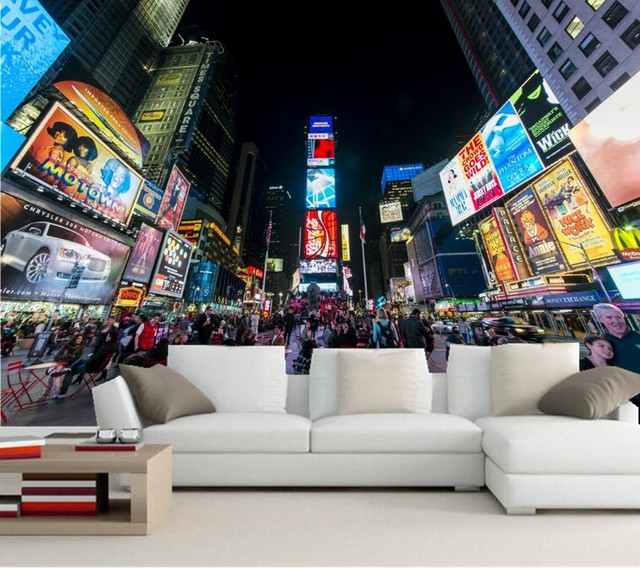 New York City Manhattan Times Square Cities Wallpapers,living Room Sofa TV  Wall Bedroom 3d