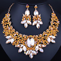 Bridal jewelry gold plated necklace and earrings sets with red crystal rhinestones women wedding jewelry sets