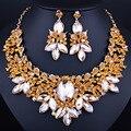 Chapado en oro de joyería nupcial conjuntos de collar y pendientes con cristal rojo piedras mujeres joyería de la boda establece