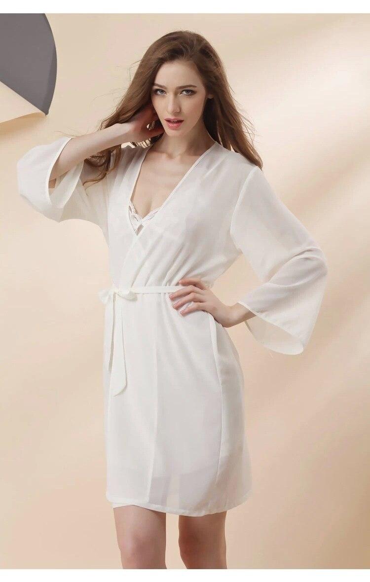 white chiffon sexy lingerie robes set 6