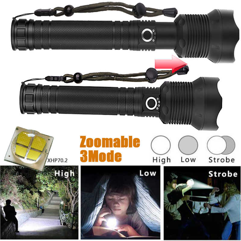 50000 Lumens Lamp xhp70.2 most powerful flashlight usb Zoom led torch xhp70 xhp50 18650 or 26650 battery for Outdoor Camping