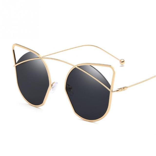 4ec93105feeaa 2018 Fashion Women Luxury Flat Top Cat Eye Sunglasses Elegant oculos de sol  men Twin Beam