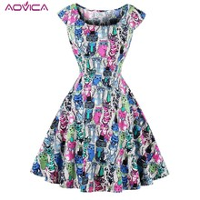 Aovica Chic Retro 50s Dress Whole-body Cute Cats Print Pin Up Rockabilly Party Dress Plus Size 4XL Vintage Hepburn Robe Vestidos