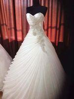 Eslieb High end Custom made Pearls Wedding Dresses Tiered Pleat Wedding Dress 2018 Vestido de Noiva Sweetheart Bridal Dresses