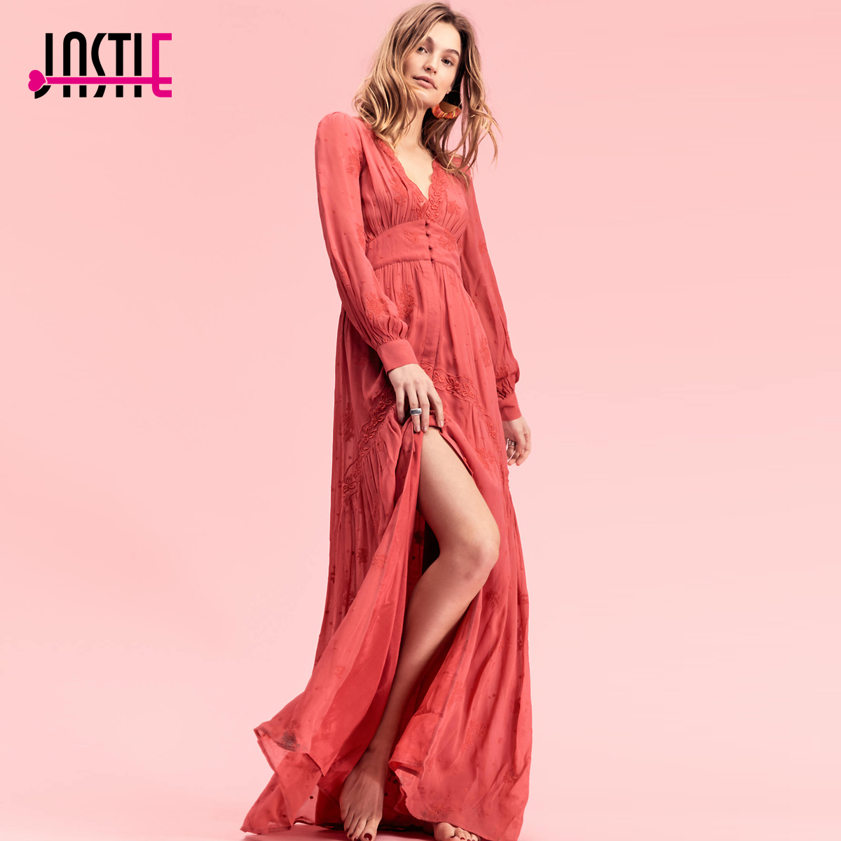 Jastie Vintage Button Through Maxi Dress Embroidered V-Neckline Sexy Women Dress Long Sleeve Autumn Winter Dresses 2017 Vestidos artsu casual bodycon knitted dress slim long sleeve sexy split button midi dresses women autumn winter party vestidos asdr30434