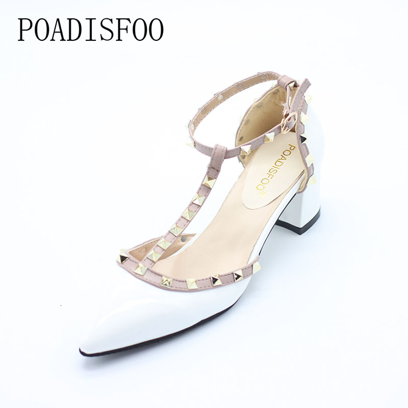 5CM 2016 Pumps new shoes T belt buckle hollow rivets pointed high-heeled patent leather high heels shoes women .XXXY-722 цена