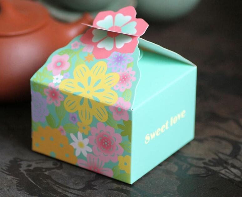 Alice 885cm Purple Red Pink Blue Flower Candy Sweet Cake BoxSmall Wedding Paper Gift Box Packaging 20pcs Lot In Bags Wrapping Supplies From