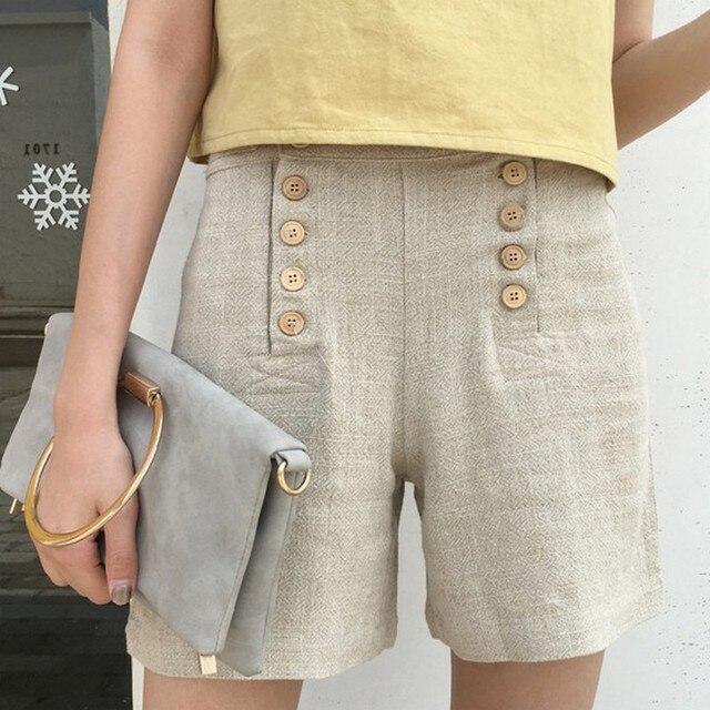 2f26569f5b6c € 12.58  Doble Botonadura Pantalones Cortos de Lino para Las Mujeres  Sólidos Pantalones Cortos de Verano Todas Correspondan Alta Cintura ...