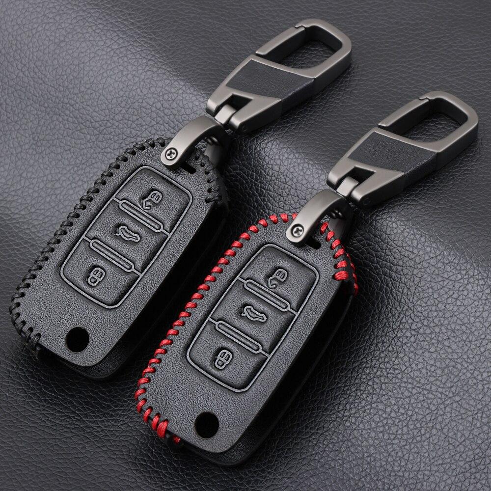 Étui à clés de voiture 3 boutons en cuir pour Volkswagen Passat B5 B6 Gol CrossFox Plus Eos Scirocco coccinelle Jetta Golf 4 5 6 Polo Bora