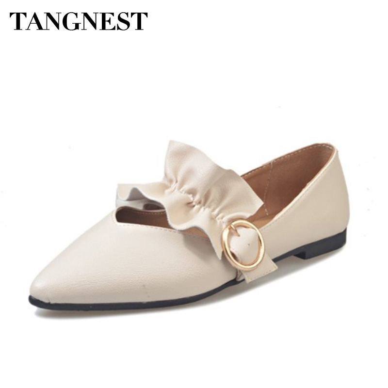 Tangnest Pointed Toe Women Loafers Fashion Riband Slip On Women Moccasins Soft Casual Shoes For Spring Women Flats XWD6500 summer slip ons 45 46 9 women shoes for dancing pointed toe flats ballet ladies loafers soft sole low top gold silver black pink