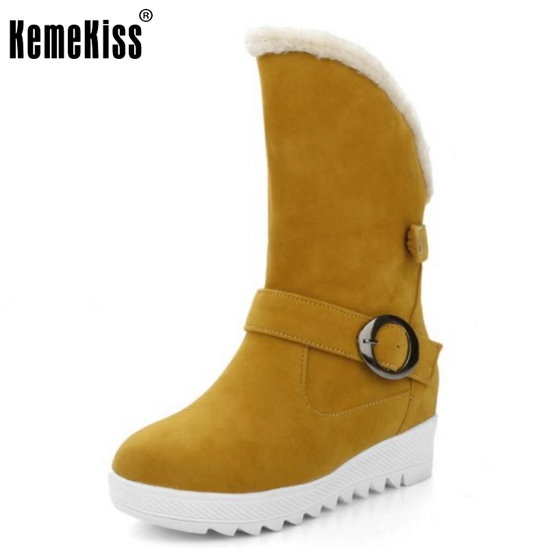Women Round Toe Snow Boots Brand New Woman High Increasing Buckle Mid Calf Boot Warm Winter Shoes Footwear Botas Mujer Size34-43 women snow boots winter warm shoes solid color flat ladies snow boots round toe mid calf women boot platform girls school shoes