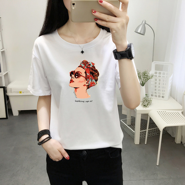 2019 Fashion Cool Print Female T-shirt White Cotton Women T shirts Summer Casual Harajuku T Shirt Femme Top