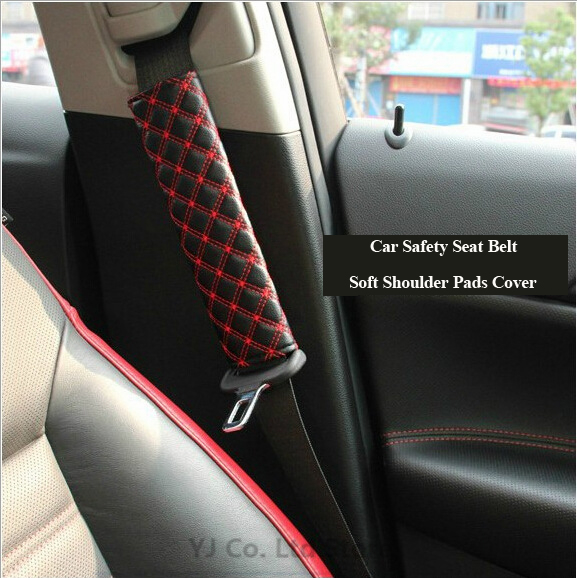 car-styling One Pair Car Safety Belt Shoulder Pad Cover Seat Belt Strap Soft Shoulder Pads Cover Cushion Harness Pad Protector