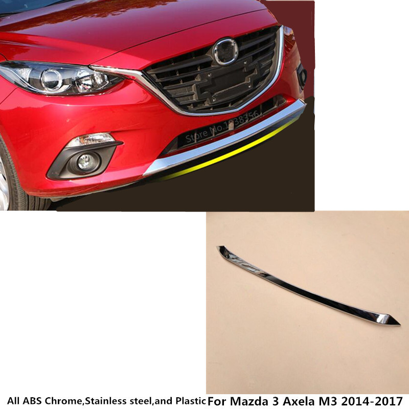 For <font><b>Mazda</b></font> <font><b>3</b></font> Axela M3 2014 2015 2016 2017 <font><b>cover</b></font> bumper <font><b>engine</b></font> ABS Chrome trim Front up bottom racing Grid Grill Grille frame edge image