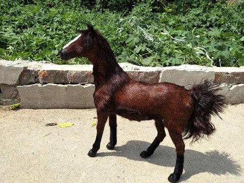 Nouvelle simulation cheval brun jouet polyéthylène & fourrures Khan sang cheval poupée cadeau environ 36x34 CM 268