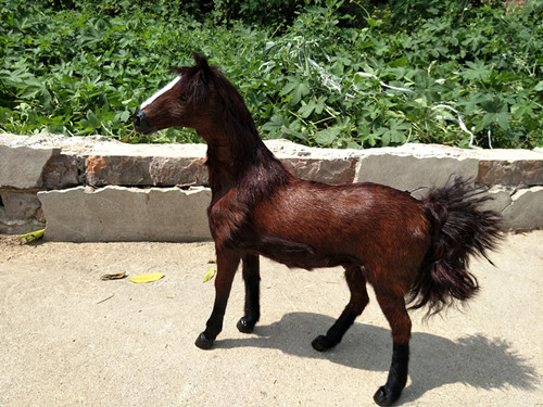 new simulation brown horse toy polyethylene & furs Khan blood horse doll gift about 36x34CM 268